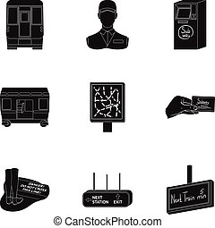 Machine, means, movement and other web icon in black style.Transport, public, machinery, icons in set collection.