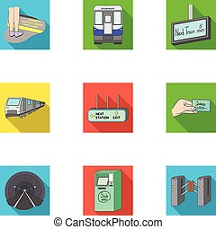 Machine, means, movement and other web icon in flat style.Transport, public, machinery, icons in set collection.