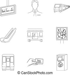 Machine, means, movement and other web icon in outline style.Transport, public, machinery, icons in set collection.