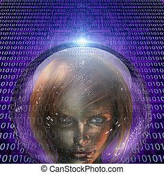 machine, menselijk, meisje