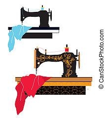 machine, modelleer ontwerp, naaiwerk, silhouette
