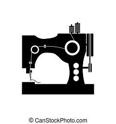 machine, monochrome, couture, silhouette, icône