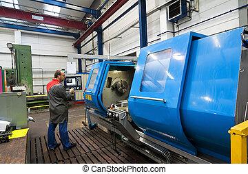 machine., moudre, plus vieux, industrie, métal, cnc, ouvriers