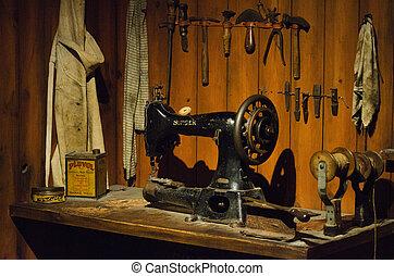 machine, naaiwerk, oud