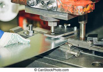 machine, opération, morceau, métal, formation