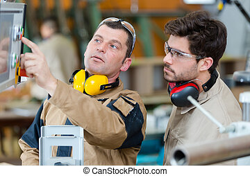 machine, opération, ouvrier, usine, apprenti
