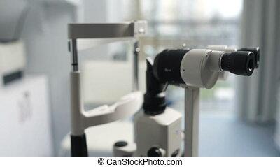 machine, ophtalmologiste, biomicroscope, bureau, brouillé