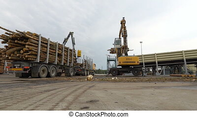Machine or loader reloads logs or timber from truck or trailer on conveyor. Wood processing at a woodworking plant. Wood supply from warehouse to workshop