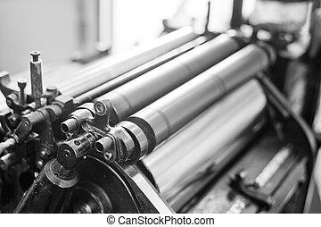 machine, oud, bezig met afdrukken van