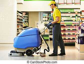 machine, ouvrier, nettoyage, magasin, plancher