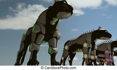 Machine panthers - 24 fps - A 3D animation of black...