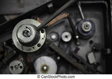 Machine part closeup - Machine part with the word...