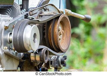 machine, part., transmission, ceinture, agricole, poulie