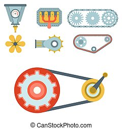Machine parts different mechanism vector mechanical manufacturing work detail design gear equipment industry technical machining engine illustration.