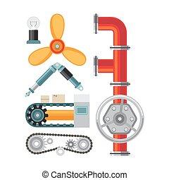 Machine parts flat icons set