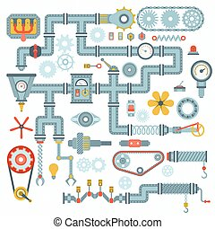 Machine parts vector illustration - Parts of machinery flat...