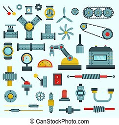 Machine parts vector illustration machinery flat icons set manufacturing work detail design gear mechanical equipment part industry technical engine
