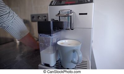 machine, personne, café, préparer, anonyme