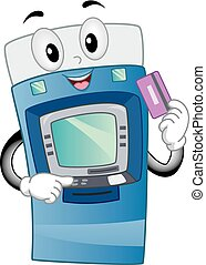 machine, pinautomaat, illustratie, mascotte