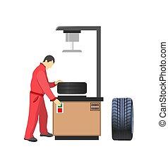 machine, pneu, production voiture, mécanicien, salopette