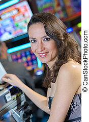 machine, portrait, femme, casino