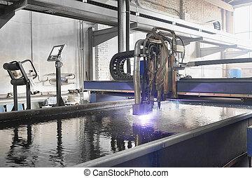 machine, pour, les, laser, découpage, métal, dans, eau