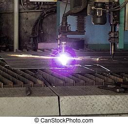 machine, pour, moderne, automatique, plasma, laser, découpage, de, métaux, plasma, découpage, à, laser, et, laser, fabrication