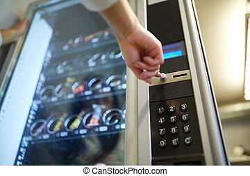 machine, poussée bouton, vente, main