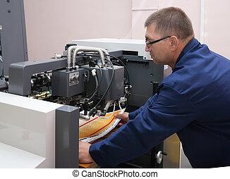 machine, printer, werkende , compensatie