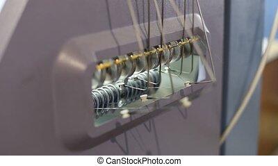 machine, proces, knitting., breiwerk, draad