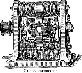Machine program, vintage engraving