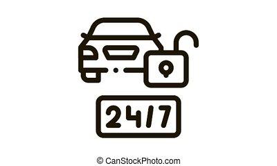 machine protection 24 7 Icon Animation. black machine protection 24 7 animated icon on white background