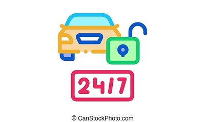machine protection 24 7 Icon Animation. color machine protection 24 7 animated icon on white background