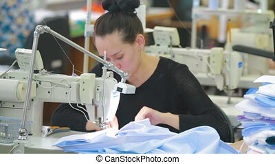 Professional sewing machine in business studio