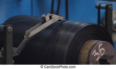 machine., reeled, bande, tambour, caoutchouc, haut