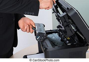 machine, repareren, fotokopie, patroon, zakenman