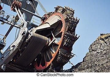 machine, reusachtig, mijnbouw
