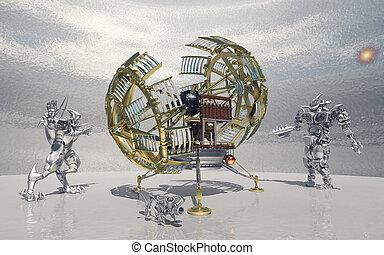 machine, robots, temps