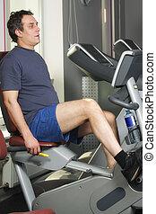 machine, séance entraînement, vélo, homme