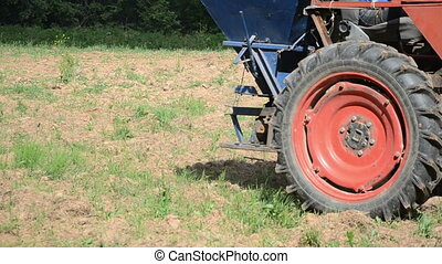 machine seed sow field - Follow special machine tractor...
