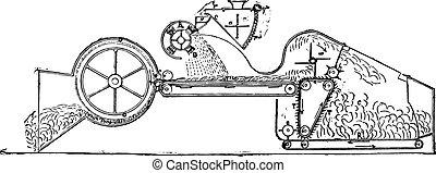 Machine silage of Mr Martin, vintage engraving. - Machine...