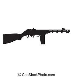 machine, silhouette, fusil