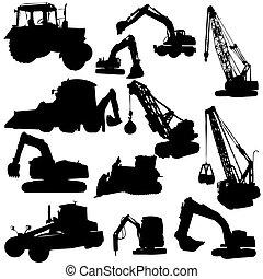 machine, silhouettes, ensemble, construction, vecteur