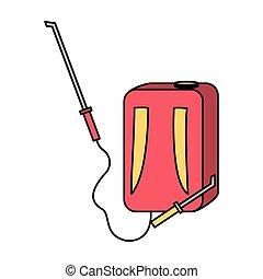 machine sprayer extermination manual work vector illustration