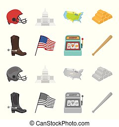 machine, style, bottes, usa, cow-boy, bat., drapeau national, web., illustration, dessin animé, ensemble, base-ball, collection, pays, icônes, vecteur, symbole, stockage