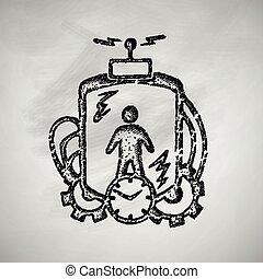 machine, temps, icône
