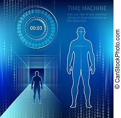 machine, temps, silhouette, homme, suivant