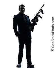 machine, tenue, silhouette, homme, gangster, thompson, fusil
