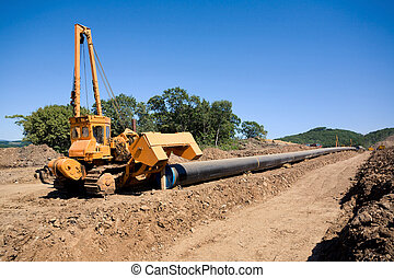 Machine to twist pipes in a pipeline construction - Machine...