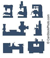 Machine tool icon set - An illustration of set of machine...